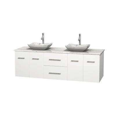 Centra 72 in. Double Vanity in White with Marble Vanity Top in Carrara White and Sinks