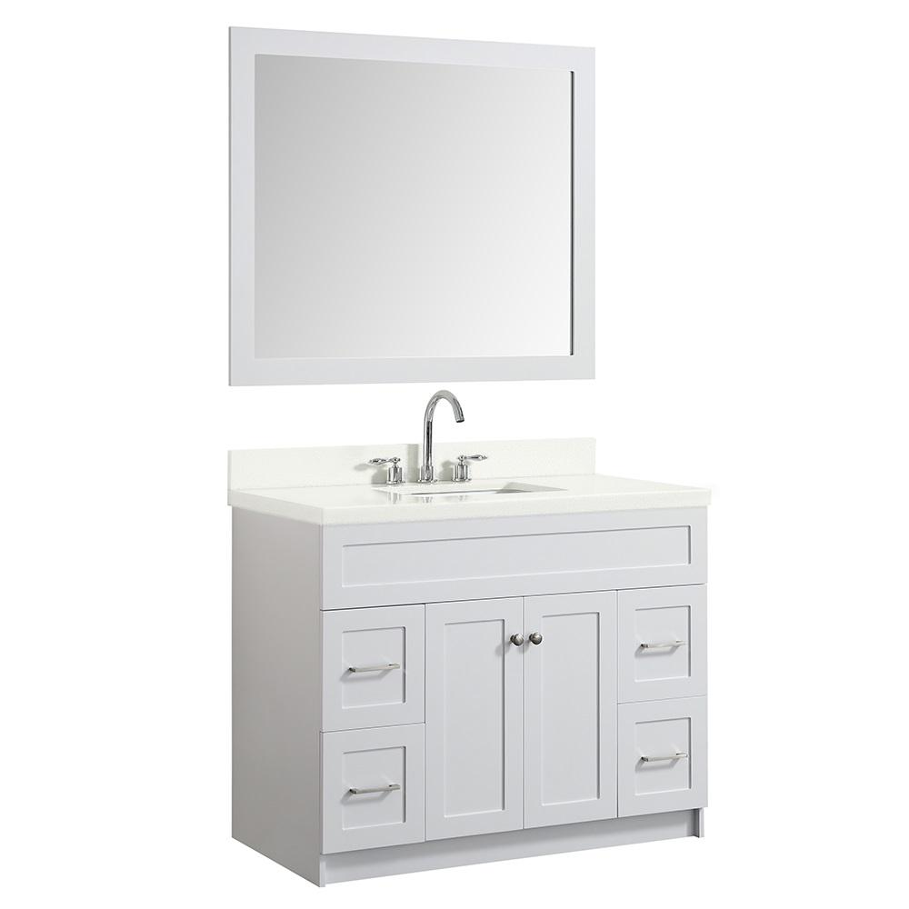 Ariel 43 in. Bath Vanity in White with Quartz Vanity Top in White with White Basin and Mirror