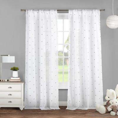Trina 38 in. W x 84 in. L Polyester Window Panel in White-Silver