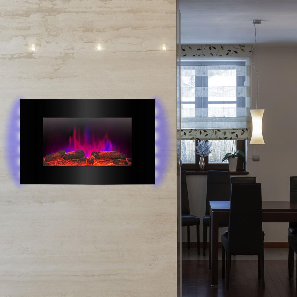 wall mount electric fireplace heater in black with tempered glass pebbles