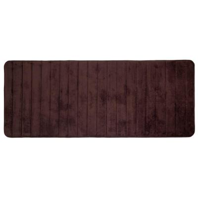 Chocolate 24.25 in. x 60 in. Memory Foam Striped Extra Long Bath Mat