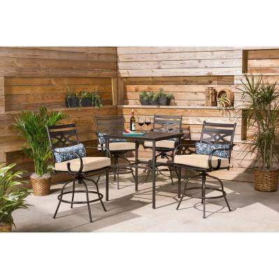Montclair 5-Piece Steel Outdoor Bar Height Dining Set with Country Cork Cushions, Swivel Chairs and 33 in. Dining Table