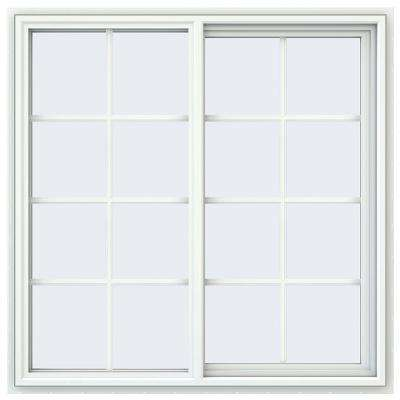 47.5 in. x 47.5 in. V-4500 Series White Vinyl Right-Handed Sliding Window with Colonial Grids/Grilles