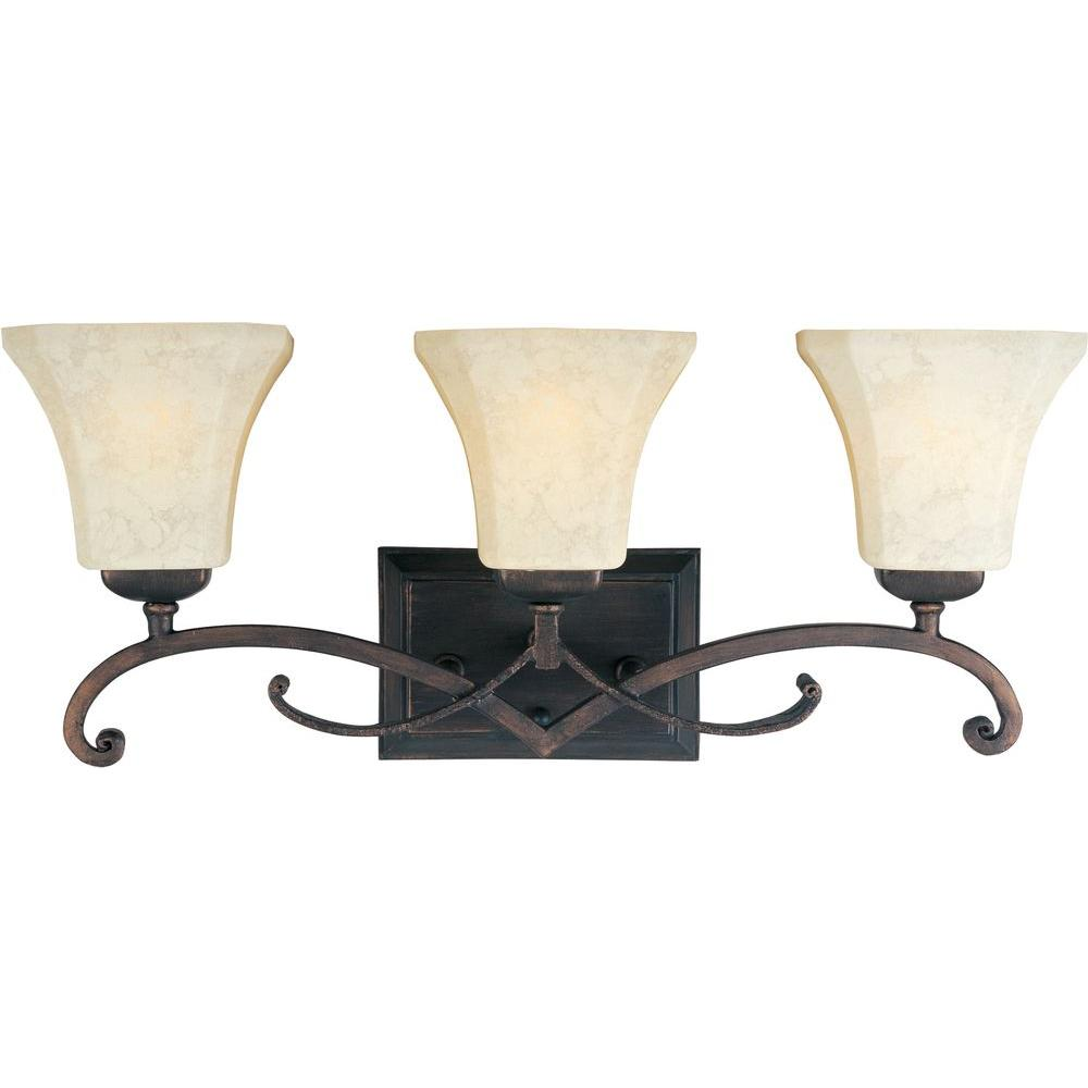 Maxim lighting oak harbor 3 light rustic burnished bath Rustic bathroom vanity light fixtures