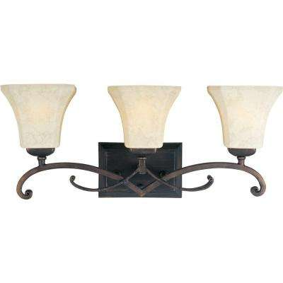 Oak Harbor 3-Light Rustic Burnished Bath Vanity Light