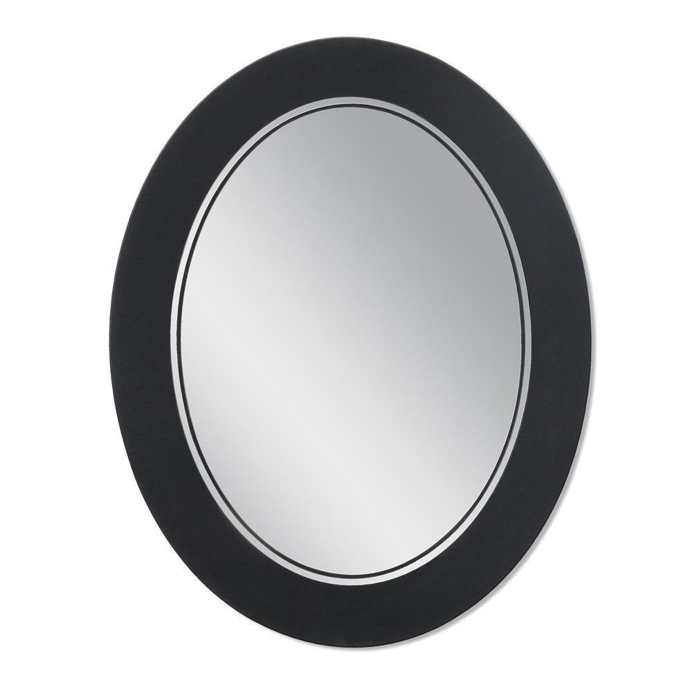 Frosted 23 in. x 29 in. Single Frameless Oval Wall Mirror in Matte Black