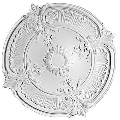 European Collection 27-9/16 in. x 2-9/16 in. Floral and Acanthus Leaves Polyurethane Ceiling Medallion