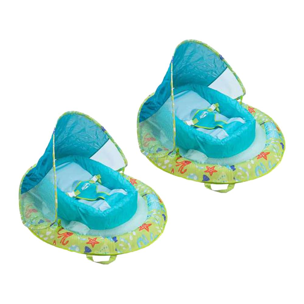 Swimways Fabric Infant Baby Spring Swimming Pool Float with Canopy (2-Pack)