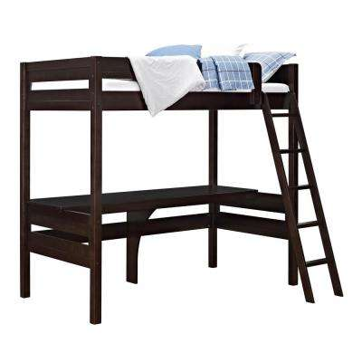 Georgetown Transitional Twin Loft Bed Frame with Desk in Espresso
