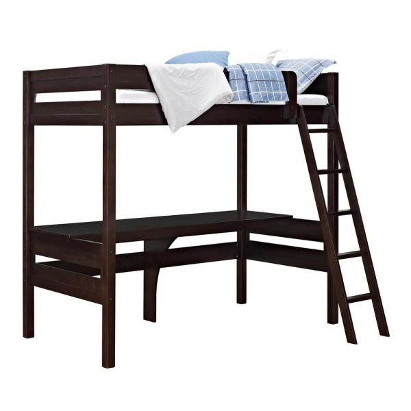 Dorel Living Georgetown Transitional Twin Loft Bed Frame with Desk in