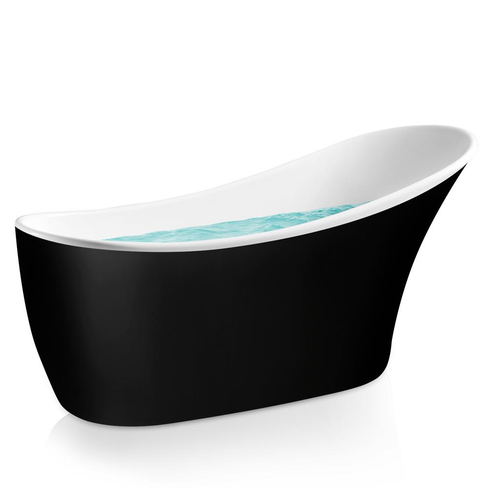 Acrylic Reversible Drain Oval Slipper Flatbottom Freestanding Bathtub In  Black AKDY 5 3 Ft