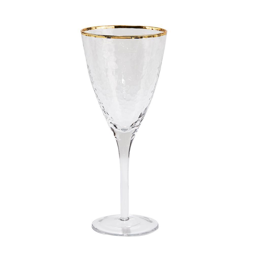 10 oz. Metallic Gold Rim Wine Glass (Set of 4)