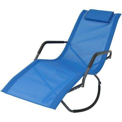 Rocking Sling Outdoor Patio Lounge Chair in Blue