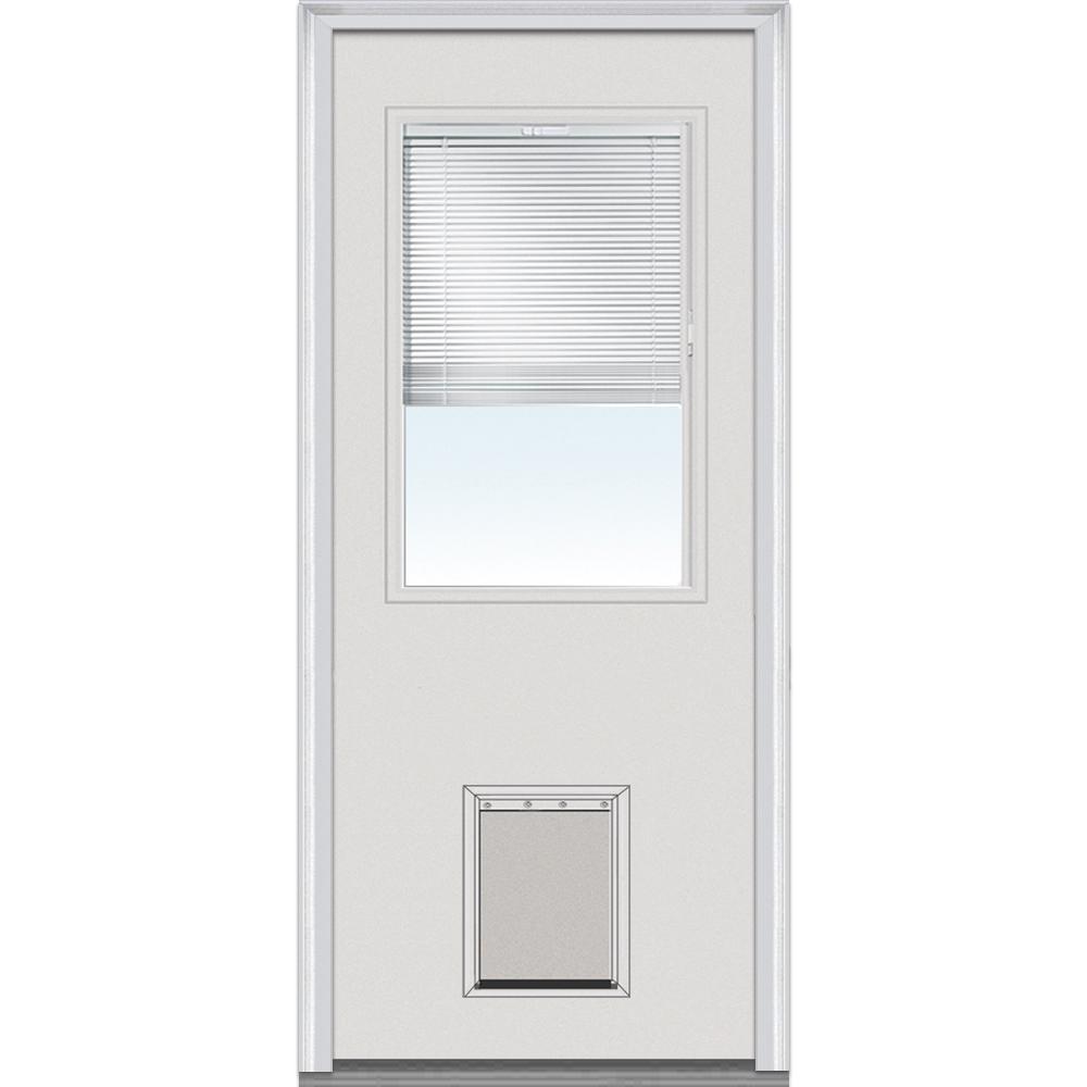 MMI Door 34 in. x 80 in. Internal Blinds Right-Hand Inswing 1/2-Lite Clear Primed Steel Prehung Front Door with Pet Door