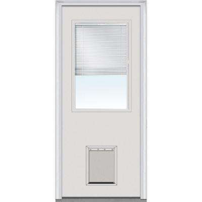 32 in. x 80 in. Internal Blinds Left-Hand Inswing 1/2-Lite Clear Primed Steel Prehung Front Door with Pet Door