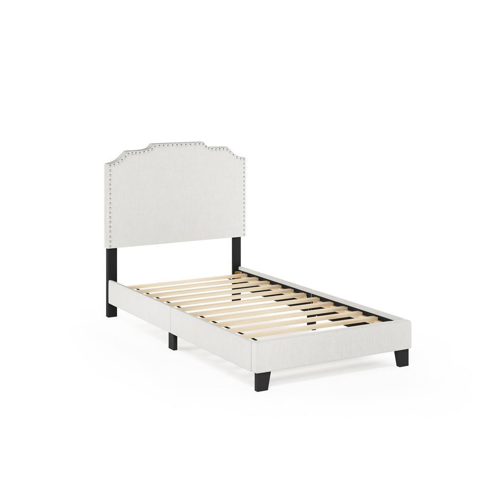 Furinno Nadia Twin Linen Nailhead Trim Bed Frame