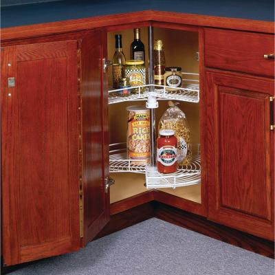 30.5 in. x 24 in. x 14.38 in. Kidney Shaped White Wire Lazy Susan Cabinet Organizer