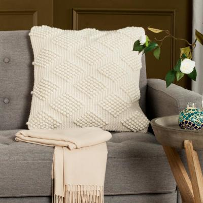 Spaced Diamond Natural Geometric Down Alternative 20 in. x 20 in. Throw Pillow