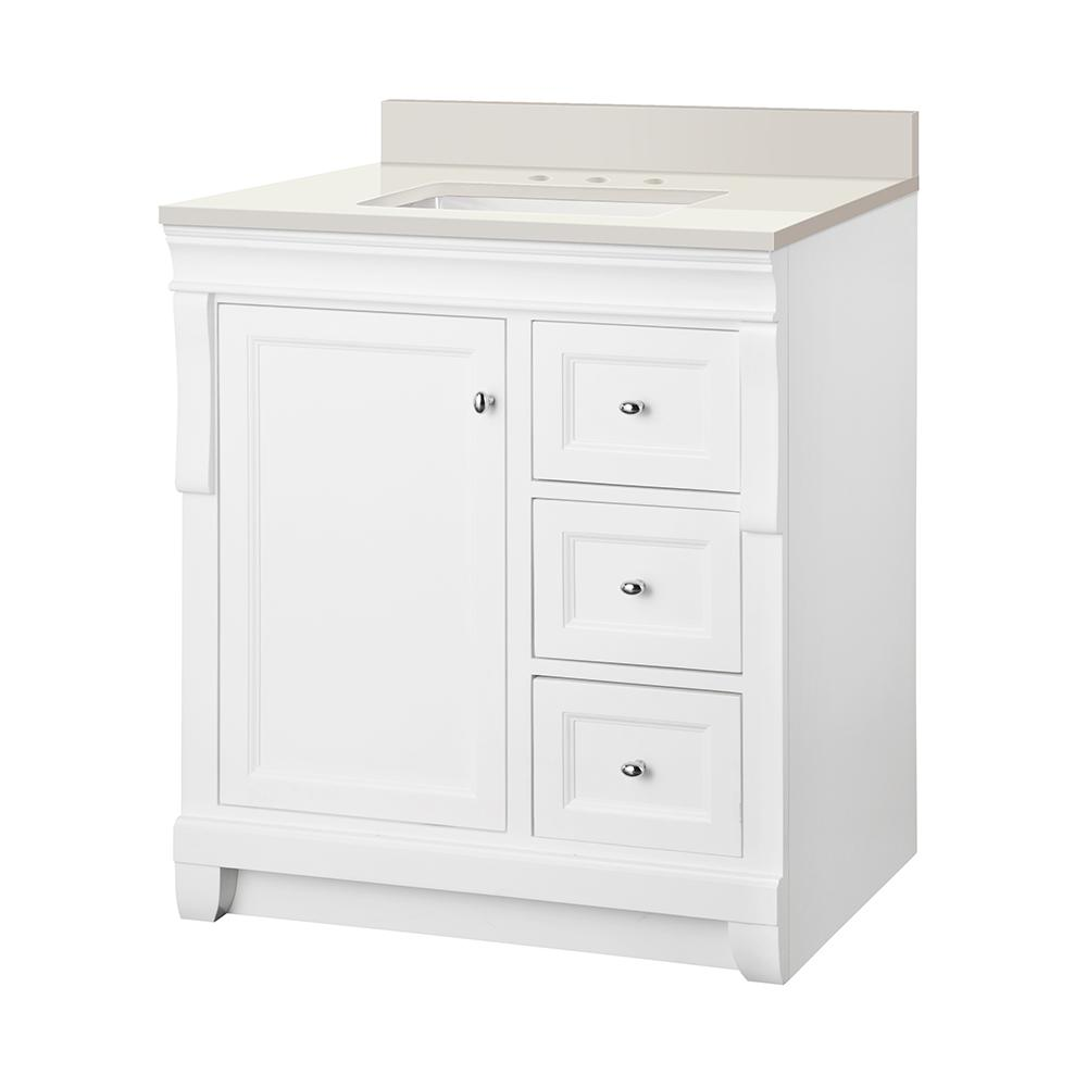 Home Decorators Collection Naples 31 in. W x 22 in. D Vanity in White with Engineered Marble Vanity Top in Winter White with White Sink