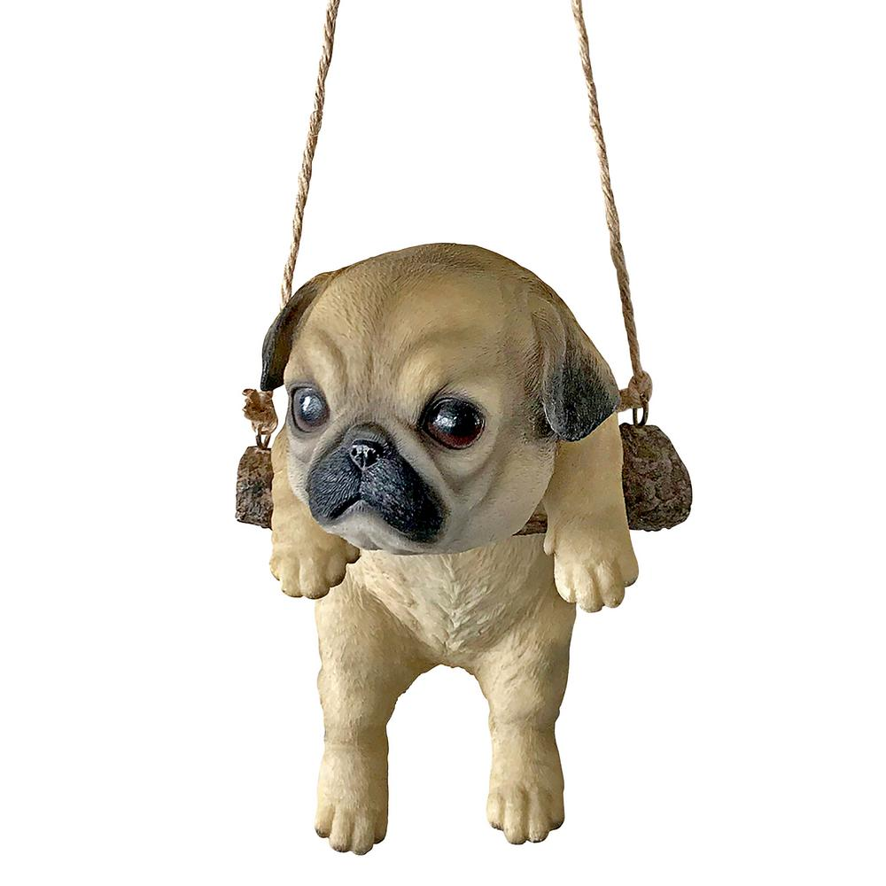Design Toscano 8 In H Pug Puppy On A Perch Hanging Dog Sculpture Jq108059 The Home Depot
