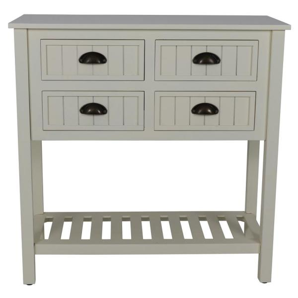 Decor Therapy Bailey Bead Antique White Console Table FR8682