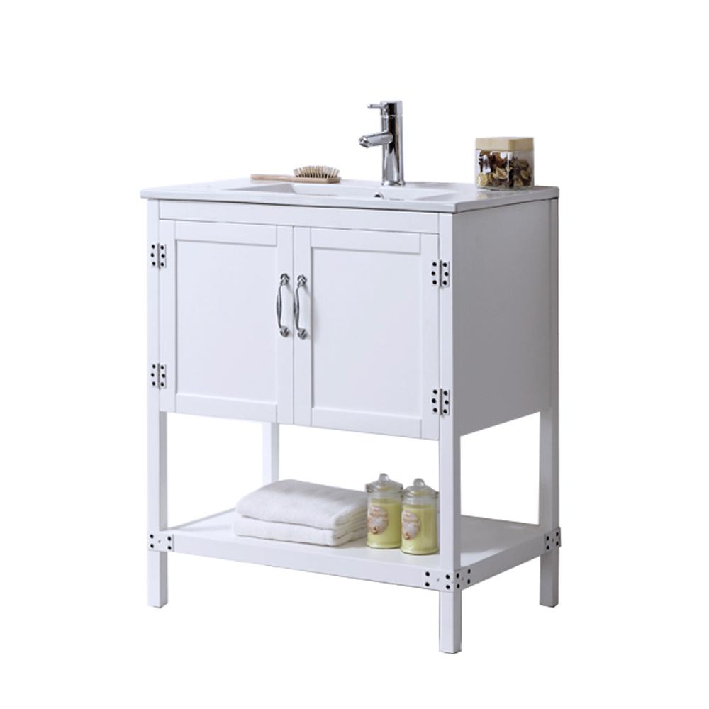 30 in. Vanity in Matt White with Ceramic Top in White