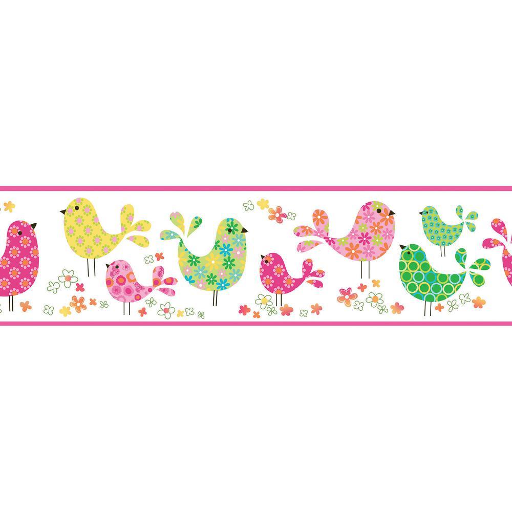 Partridge Pink Calico Birdies Toss Pink Wallpaper Border