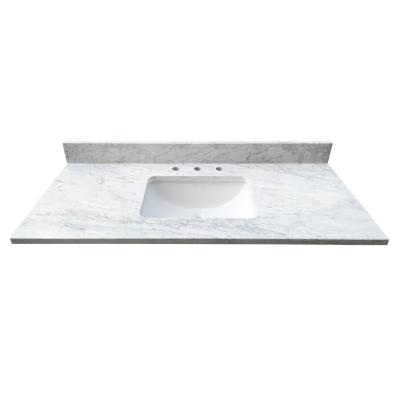 49 in. W x 22 in. D x 1 in. H Bianco Carrara White Marble Vanity Top with White Basin