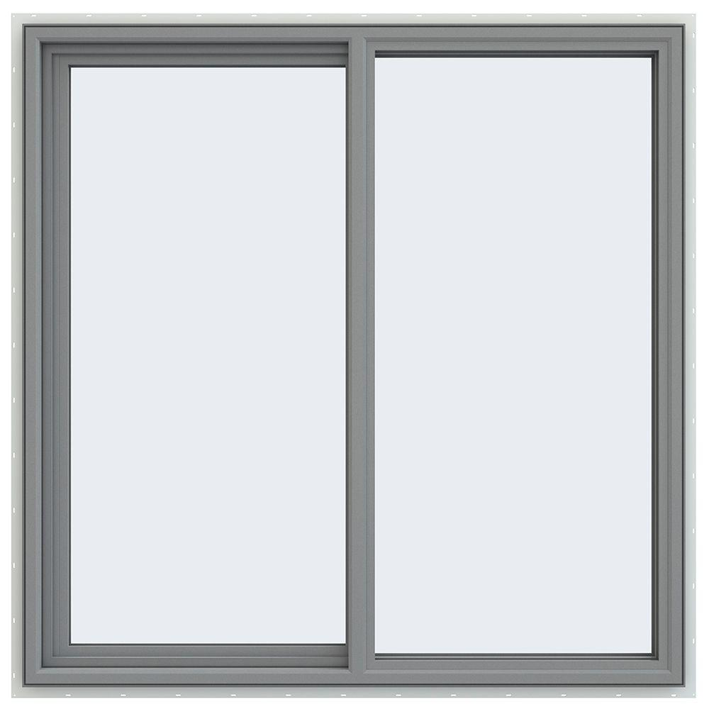 JELD-WEN 47.5 in. x 47.5 in. V-4500 Series Left-Hand Sliding Vinyl Window - Gray