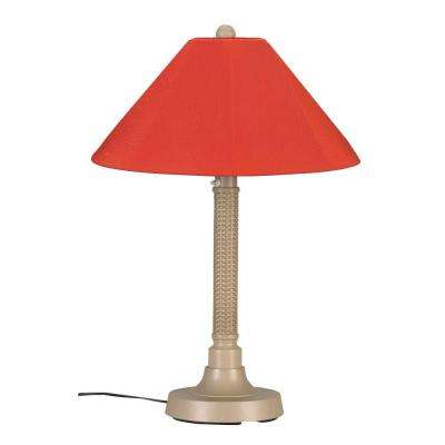 Bahama Weave 34 in. Mojavi Outdoor Table Lamp with Melon Shade