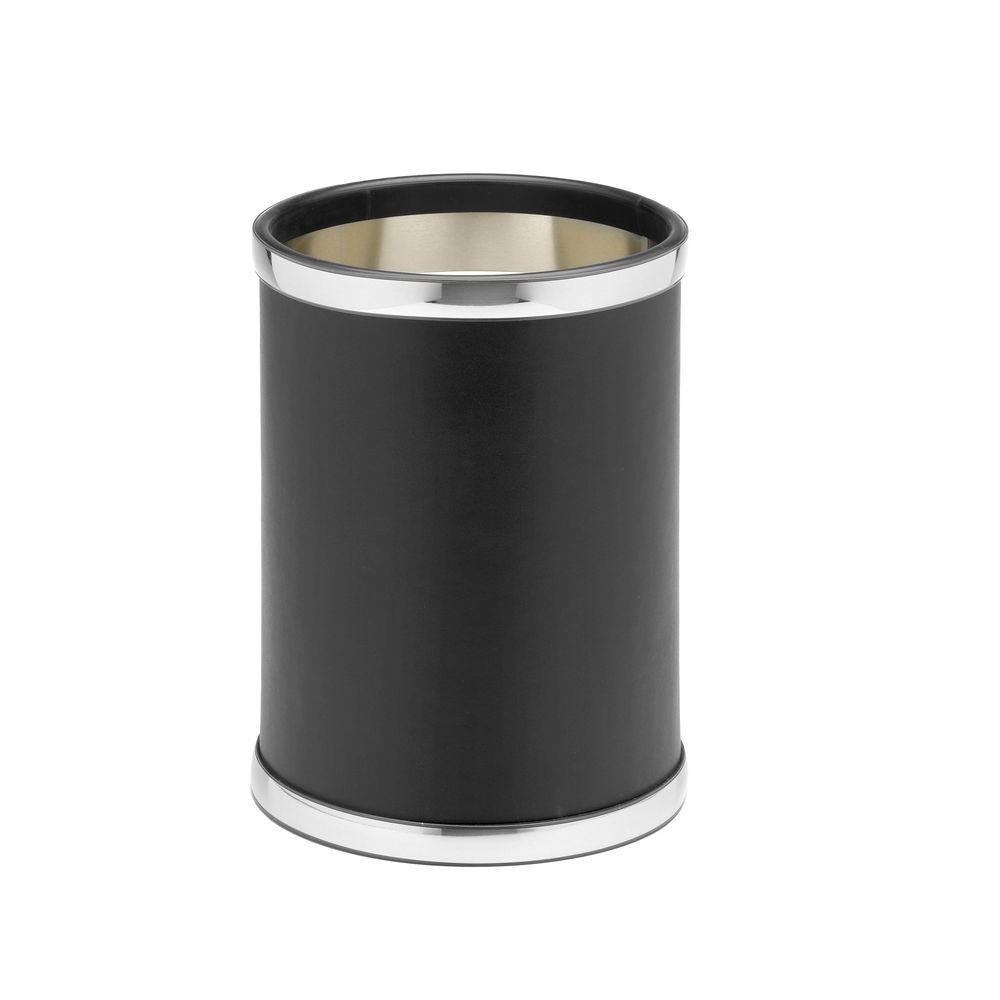 Sophisticates 8 Qt. Black w/Polished Chrome Round Waste Basket