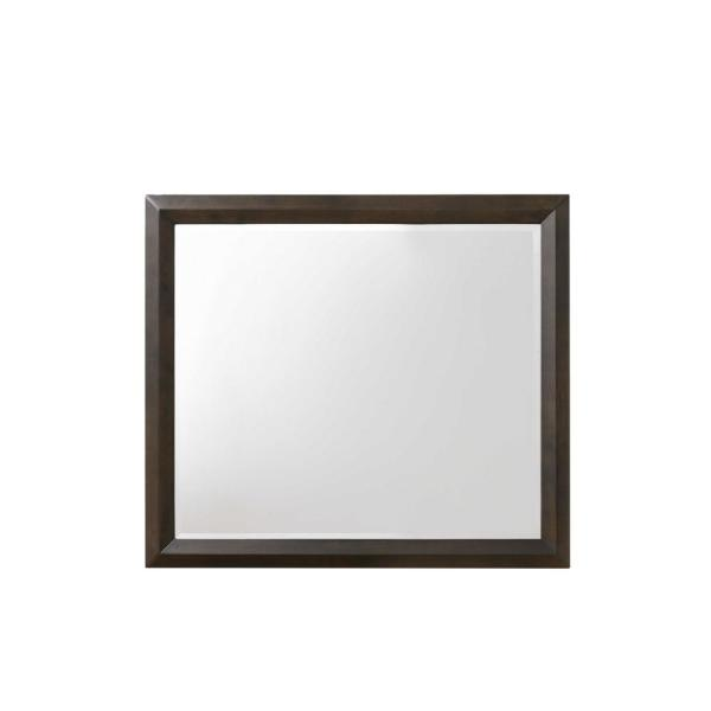 Medium Square Espresso Classic Mirror (35 in. H x 39 in. W)