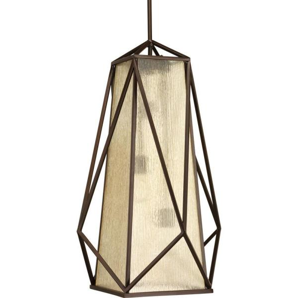 Marque Collection 3-Light Antique Bronze Foyer Pendant with Antique Textured Glass