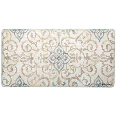 Cook N Comfort Cream Rustic Medallion 20 in. x 39 in. Kitchen Mat