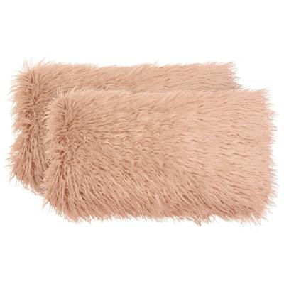 Mongolian Faux-Fur Blush Solid Faux Fur Polyester 14 in. x 24 in. Throw Pillow (Set of 2)