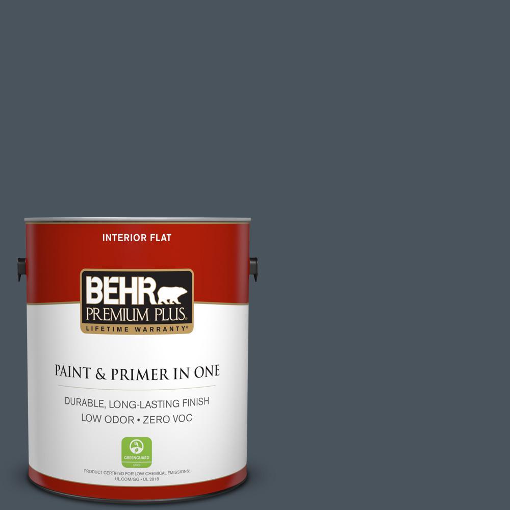 BEHR Premium Plus 1-gal. #N480-7 Midnight Blue Flat Interior Paint