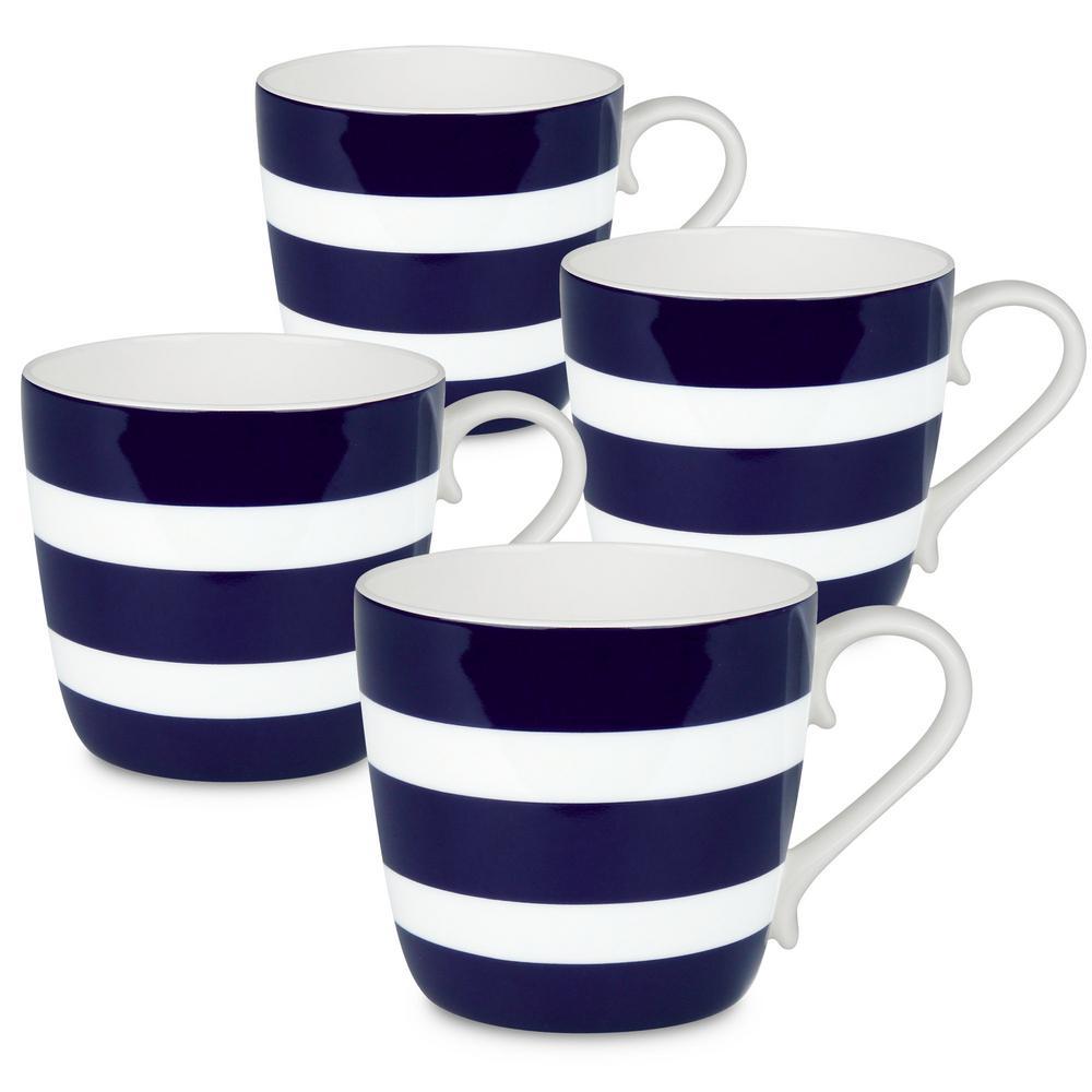 Konitz 4-Piece Polka Stripes Dark Blue Bone China Mug Set