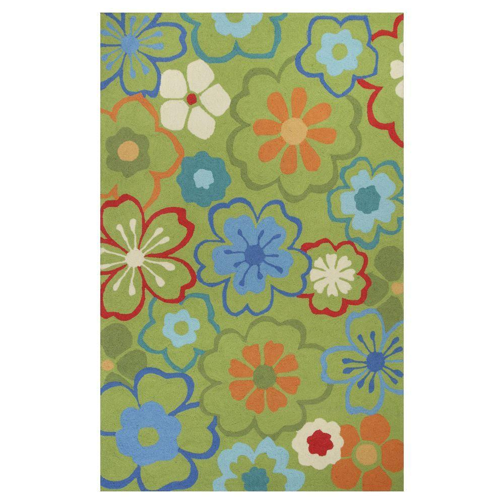 Kas Rugs Flowers at Play Green/Blue 7 ft. 6 in. x 9 ft. 6 in. Area Rug