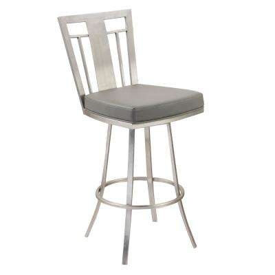 Cleo 26 in. Gray Faux Leather and Brushed Stainless Steel Finish Swivel Barstool