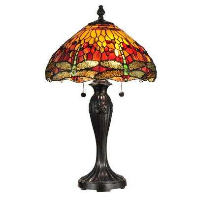 27 in. Fieldstone Reeves Dragonfly Table Lamp with Tiffany Art Glass Shade