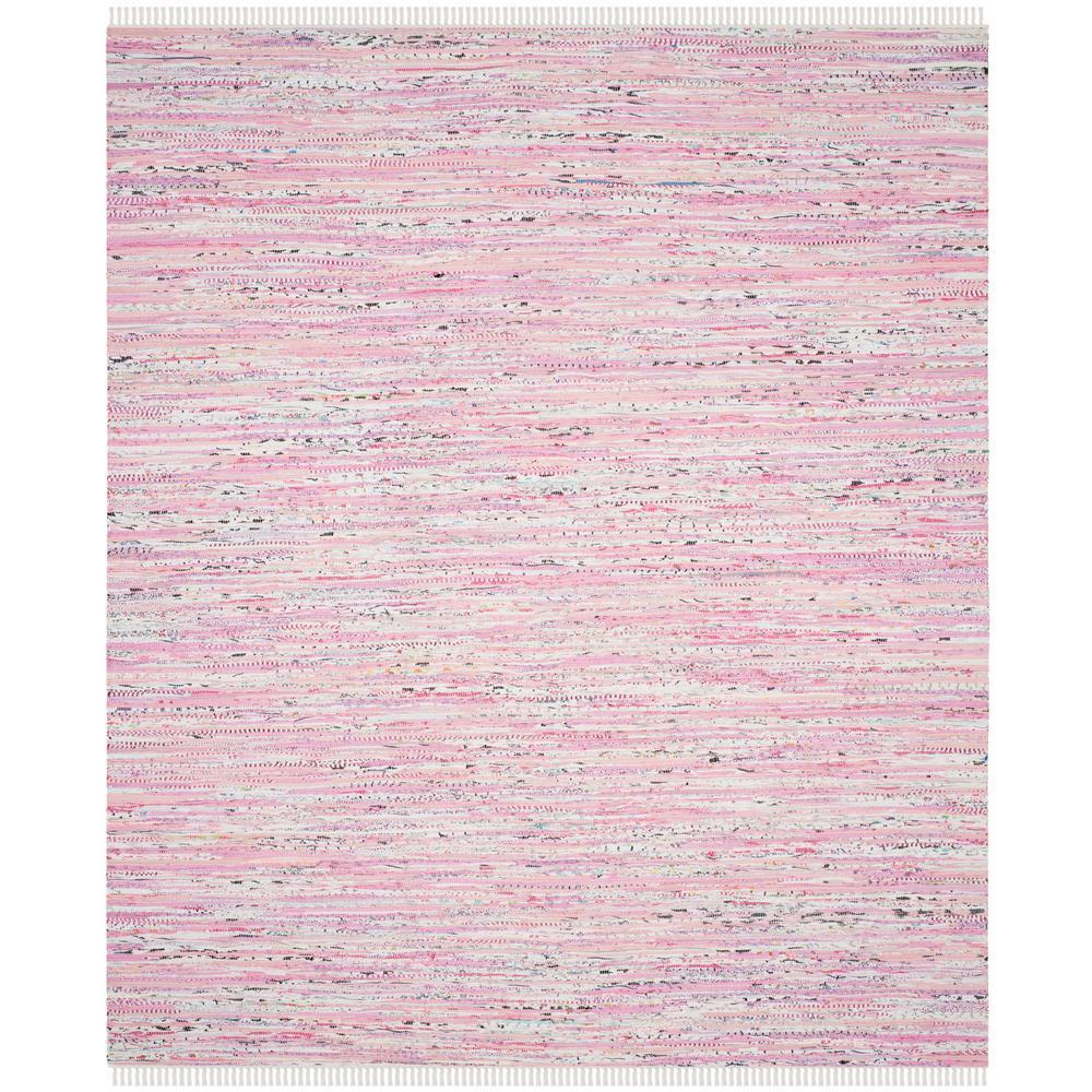 Rag Rug Light Pink/Multi 9 ft. x 12 ft. Area Rug