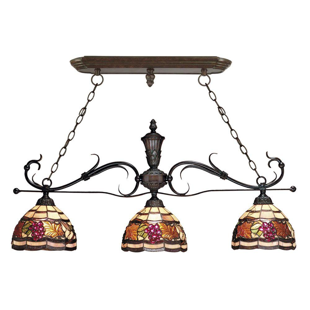 Dale Tiffany Tiffany Golden Harvest 3-Light Hanging Antique Bronze Island Light-DISCONTINUED
