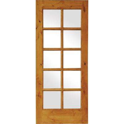 24 in. x 80 in. Rustic Knotty Alder 10-Lite Clear Glass Unfinished Wood Front Door Slab