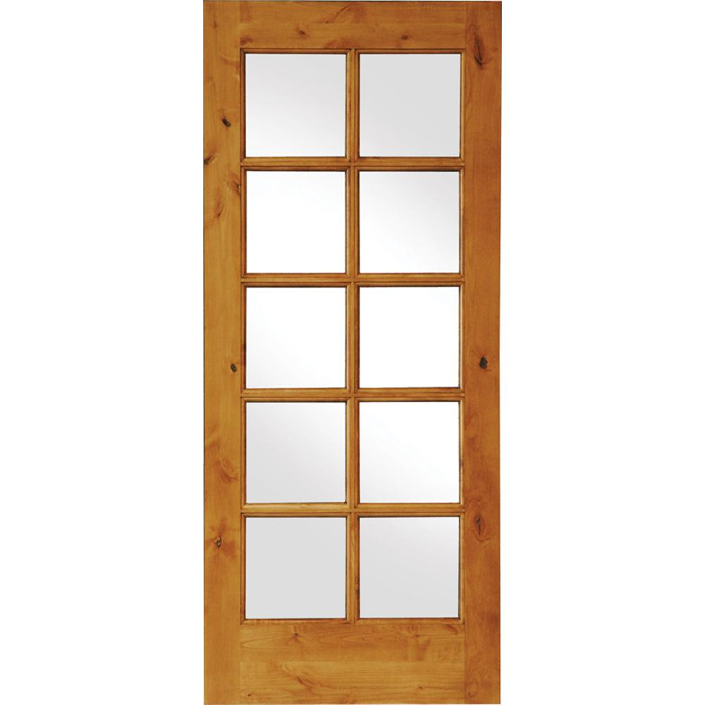 Krosswood Doors 28 In X 80 In Rustic Knotty Alder Wood 10 Lite Clear Low E Glass Tdl Stainable