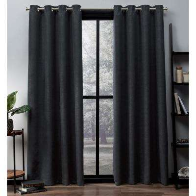 Oxford 52 in. W x 96 in. L Woven Blackout Grommet Top Curtain Panel in Charcoal (2 Panels)