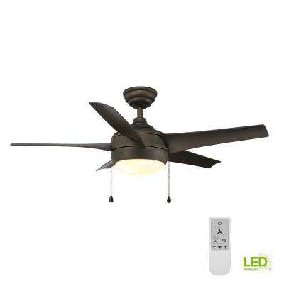 Windward 44 in. Oil Rubbed Bronze LED Smart Ceiling Fan with Light and Remote Works with Google Assistant and Alexa