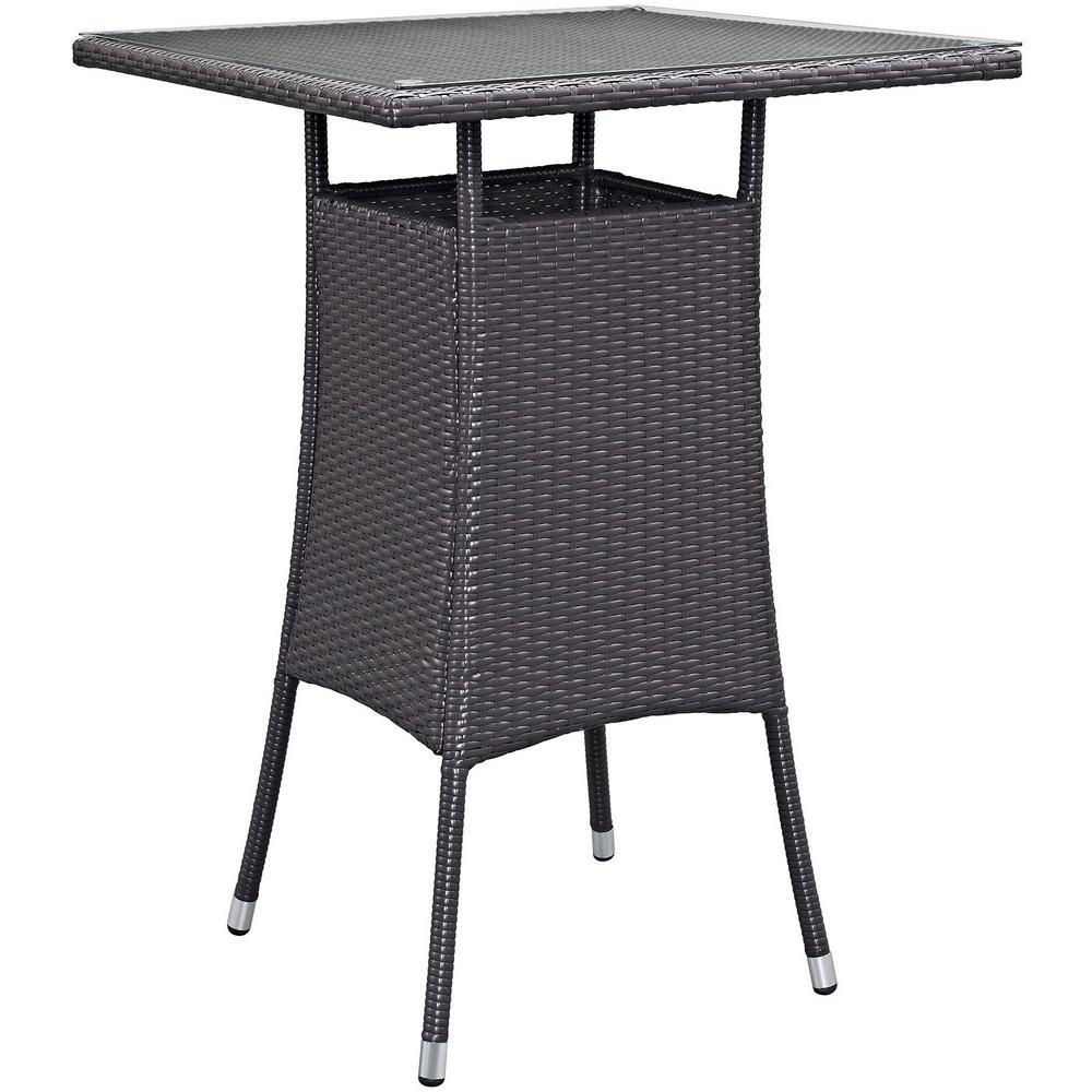 Convene Small Patio Wicker Bar Height Outdoor Dining Table in Espresso