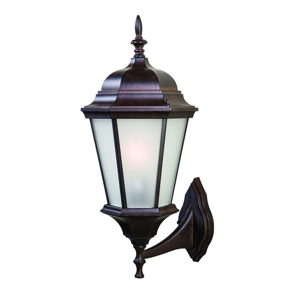 Richmond Collection 1-Light Burled Walnut Outdoor Wall Mount Light Fixture