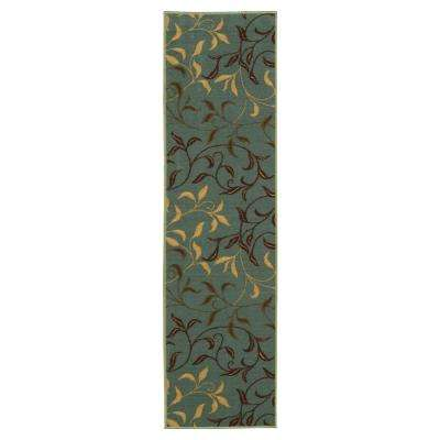Ottohome Collection Contemporary Leaves Design Sage Green 1 ft. 10 in. x 7 ft. Runner
