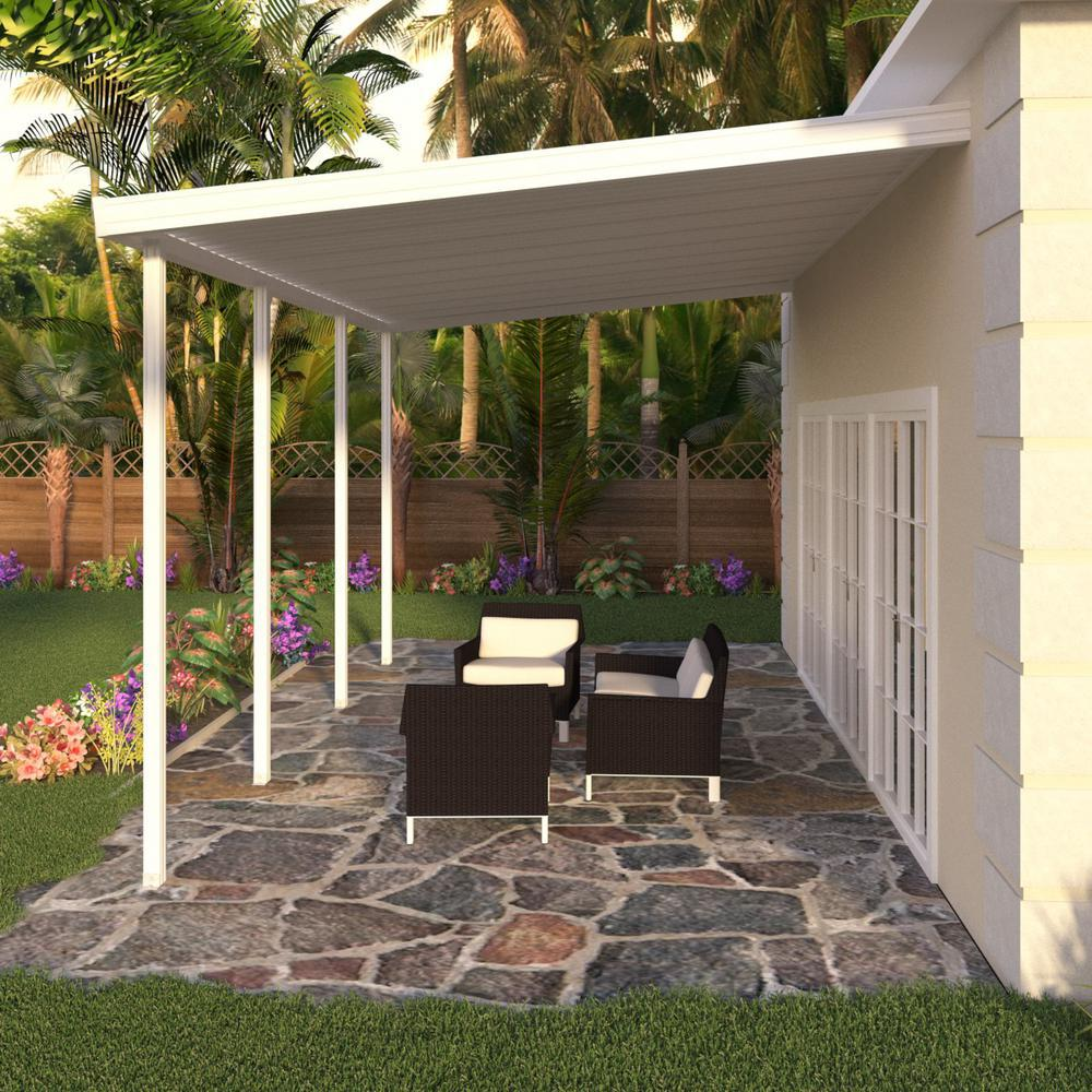 Integra 8 Ft X 18 Ft White Aluminum Attached Solid Patio
